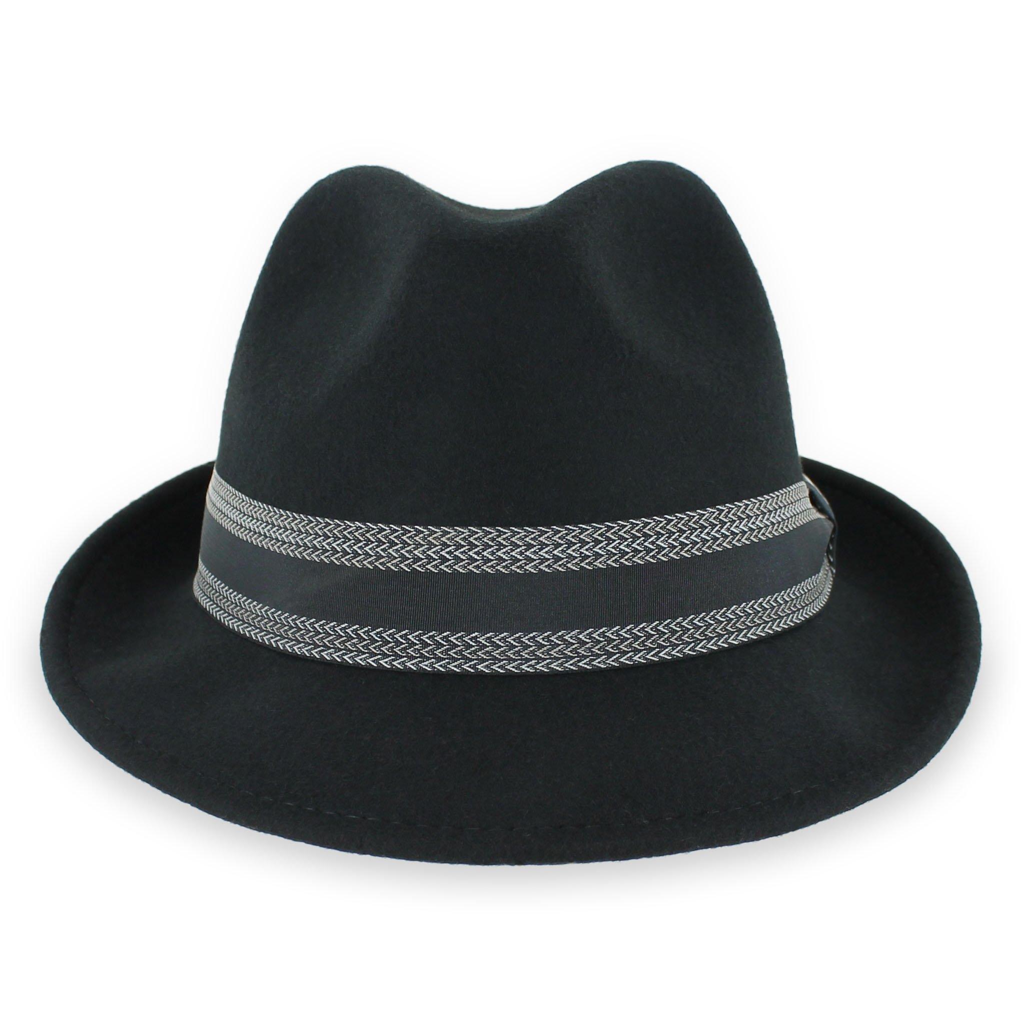 Hats in the Belfry Lucas - Crushable Wool Felt Fedora Hat (Black, XLarge)