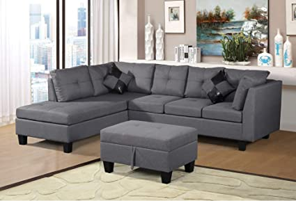Harper & Bright Designs Linen Fabric 3 Piece Sectional Sofa Set with Chaise  Lounge, Storage Ottoman, Backrest Cushion and 2 Throw Pillows