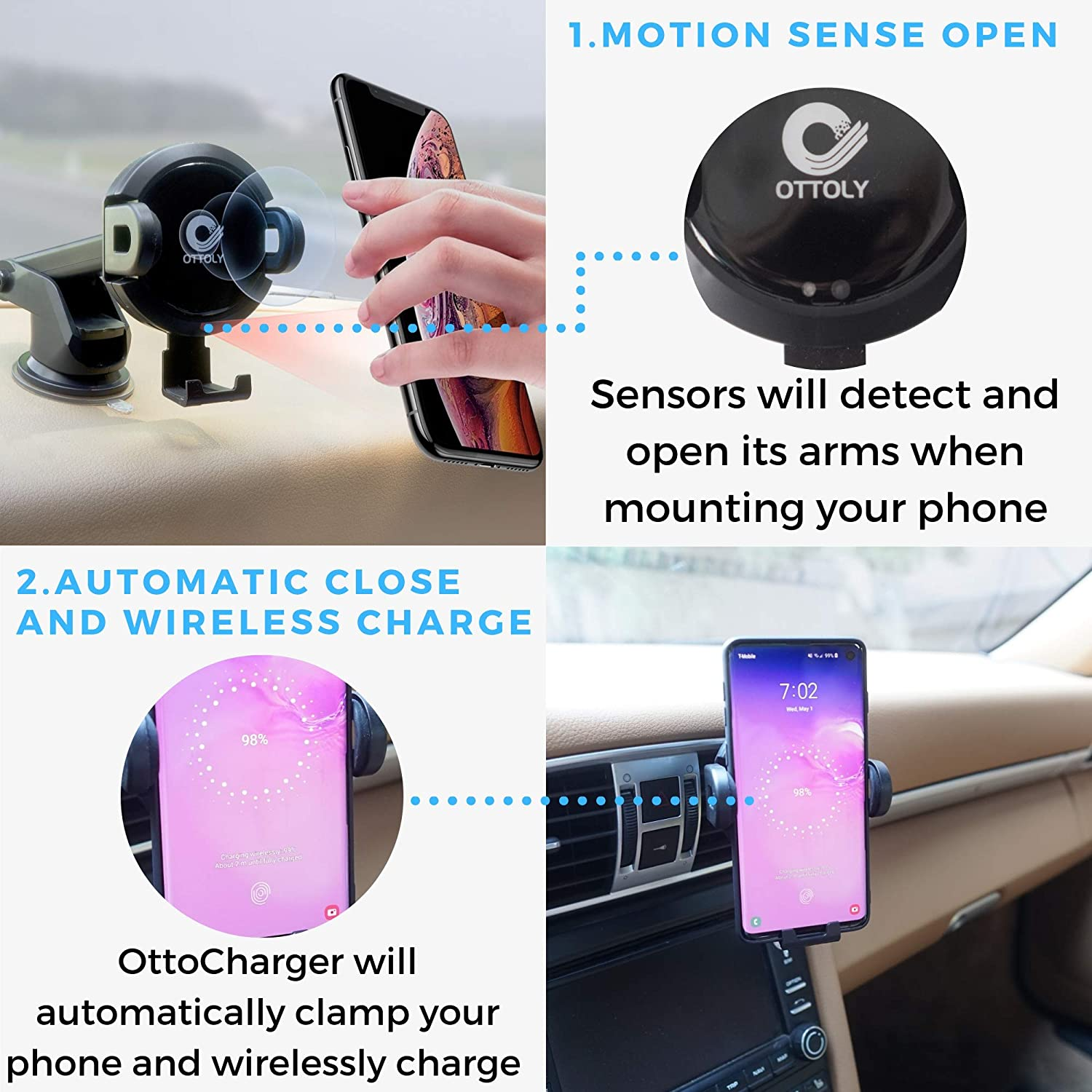 A Car Cell Phone Mount with Automatic Sensor Clamping Windshield and Dash Adapter Included for iPhone and Android Ottoly Wireless Qi Fast Charger Vent