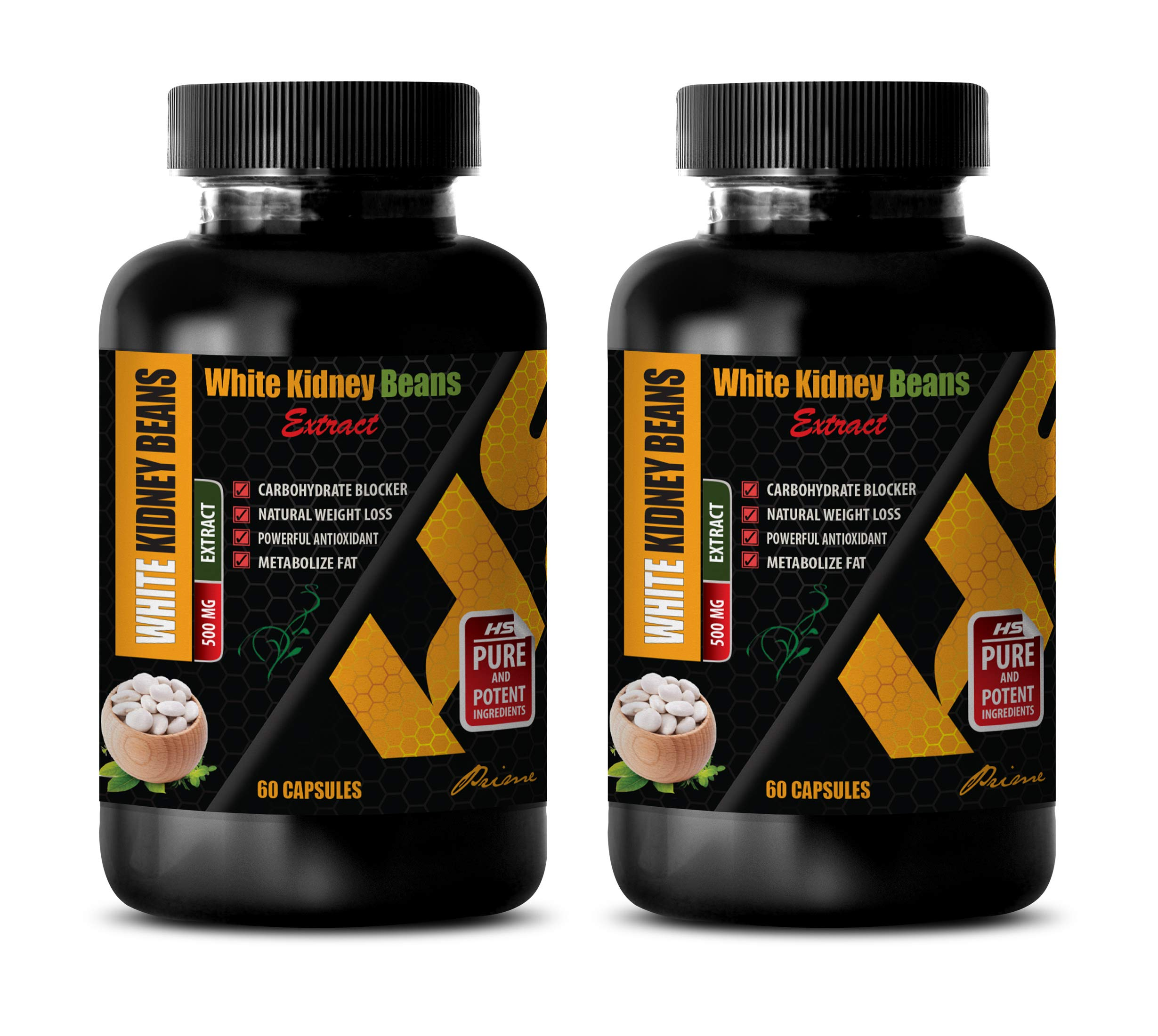 carb blockers Weight Loss and Fat Blocker - White Kidney Beans 500 MG - Prime Extract - Weight Loss Pills for Men and Women - 2 Bottles (120 Capsules)