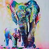 Gemini _ Mall® dipinta a mano pittura a olio colorato elefante su tela Frameless moderno pop stampa artistica da parete PICTURES Home Decor, Elephant, 60 x 60 cm
