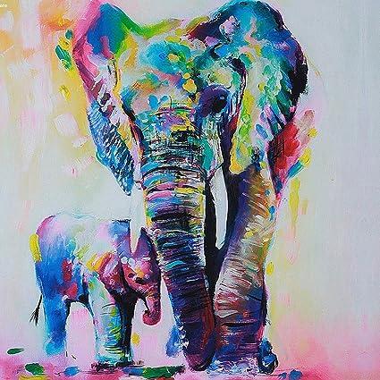 Gemini _ Mall Peinture à Lu0027huile Du0027un éléphant Coloré Sur Toile Moderne