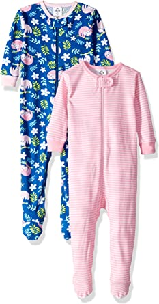 GERBER Baby Girls 2-Pack Footed Unionsuit