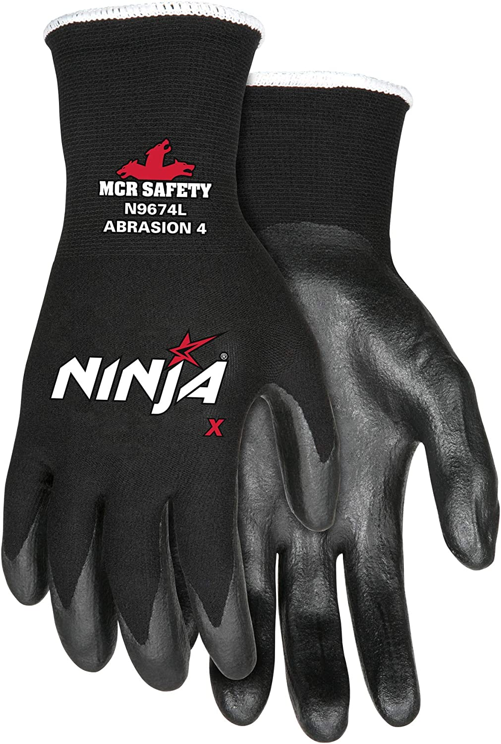 Memphis Glove N9674M Ninja X Nylon/Spandex Shell Gloves with Bi-Polymer Dipped Palm and Fingertips, Black, Medium, 1-Pair