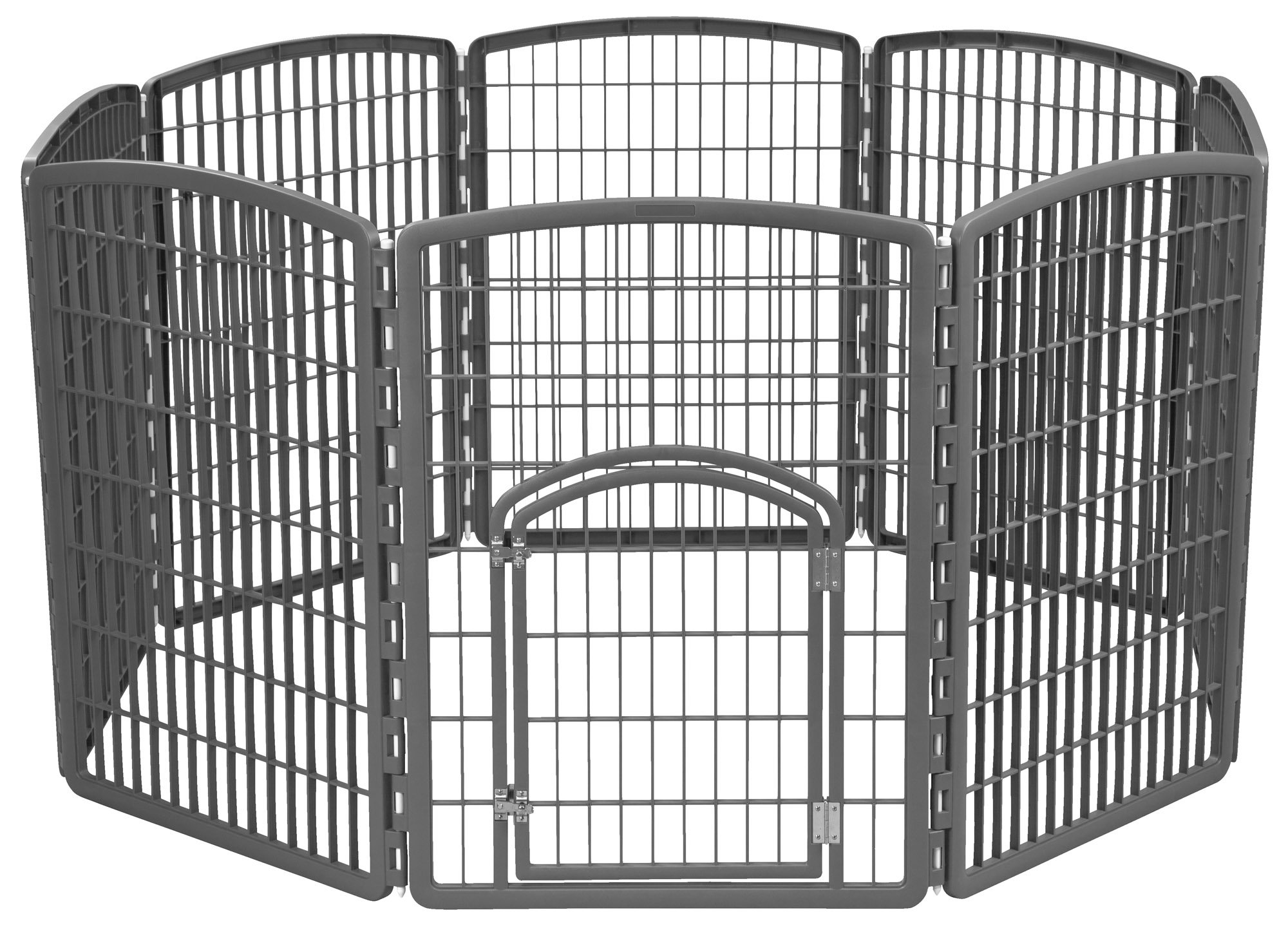 IRIS 34'' Exercise 8-Panel Pet Playpen without Door, Dark Gray by IRIS USA, Inc.