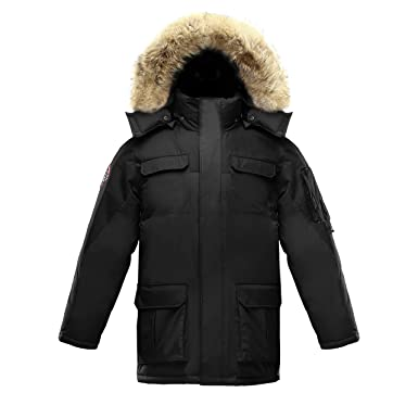 f130111b5b8 Triple F.A.T. Goose Chenega Mens Goose Down Jacket Arctic Parka with Real  Coyote Fur (XXX-Large, Black) at Amazon Men's Clothing store: