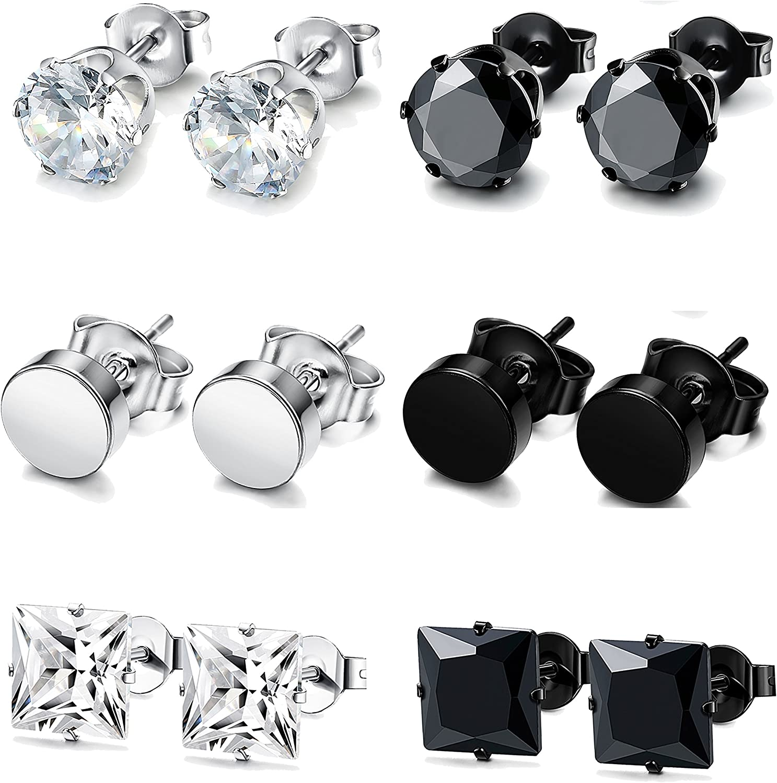 FUNRUN JEWELRY 4-6 Pairs Stainless Steel Stud Earrings for Men Women CZ Round Earrings Black 3-10mm