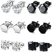 FUNRUN JEWELRY 6 Pairs Stainless Steel Stud Earrings for Men Women CZ Round Earrings Black 3-10mm