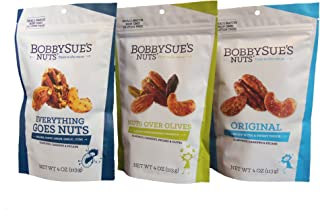 product image for BobbySue's Savory Spiced Nuts Variety 3-Pack - Original, Everything Goes Nuts, and Nuts Over Olives - 4 Ounce Bags