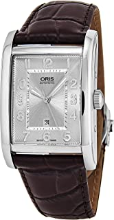 Oris Rectangular Date Mens Brown Leather Band Automatic Watch - Silver Face with Luminous Hands and