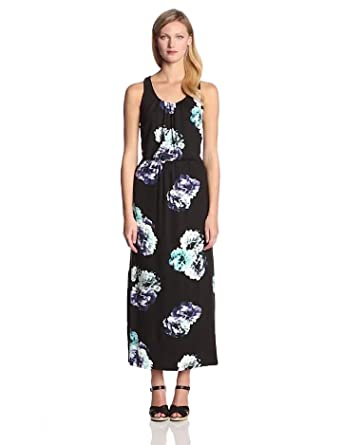 Adrianna Papell Women's Sleeveless Scoop Neck Maxi Dress with Shirred Elastic Waist, Black Multi, Small