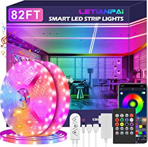Led Strip Lights, 82ft/25m Long Smart Led Light Strips Music Sync 5050 RGB Color Changing Rope Lights,Bluetooth APP/IR Remote/Switch Box Control Led Lights for Bedroom,Home Decoration,Party,Festival