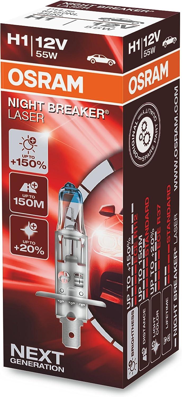 Osram Night Breaker Laser H1 Next Generation 150 Mehr Helligkeit Halogen Scheinwerferlampe 64150nl 12v Pkw Faltschachtel 1 Lampe Auto