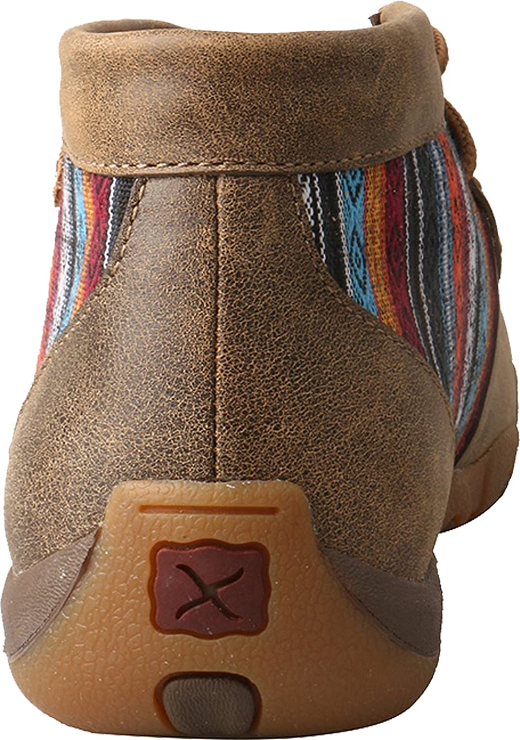 Twisted X Women's Leather Lace-up Rubber Sole Driving Moccasins - Brown/Turquoise B07FTD9BNL 7 M US Bomber / Multi