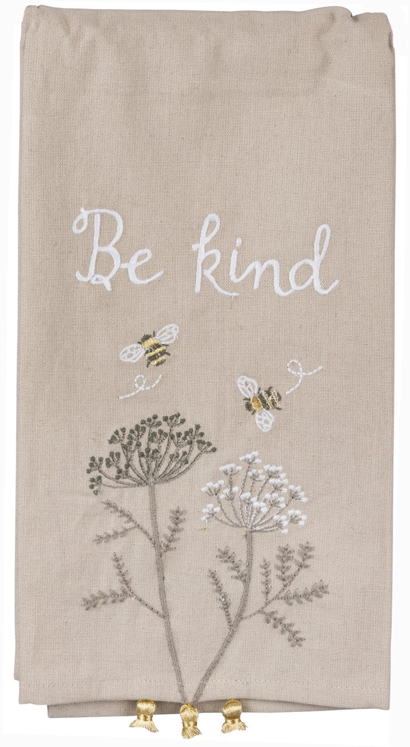 Primitives by Kathy Be Kind Kitchen Towel - Embroidered Bumblebees and Flowers - 20'' x 26'' Premium Cotton/Linen Dishtowel with Tassel Accents - 2018 Botanical Collection