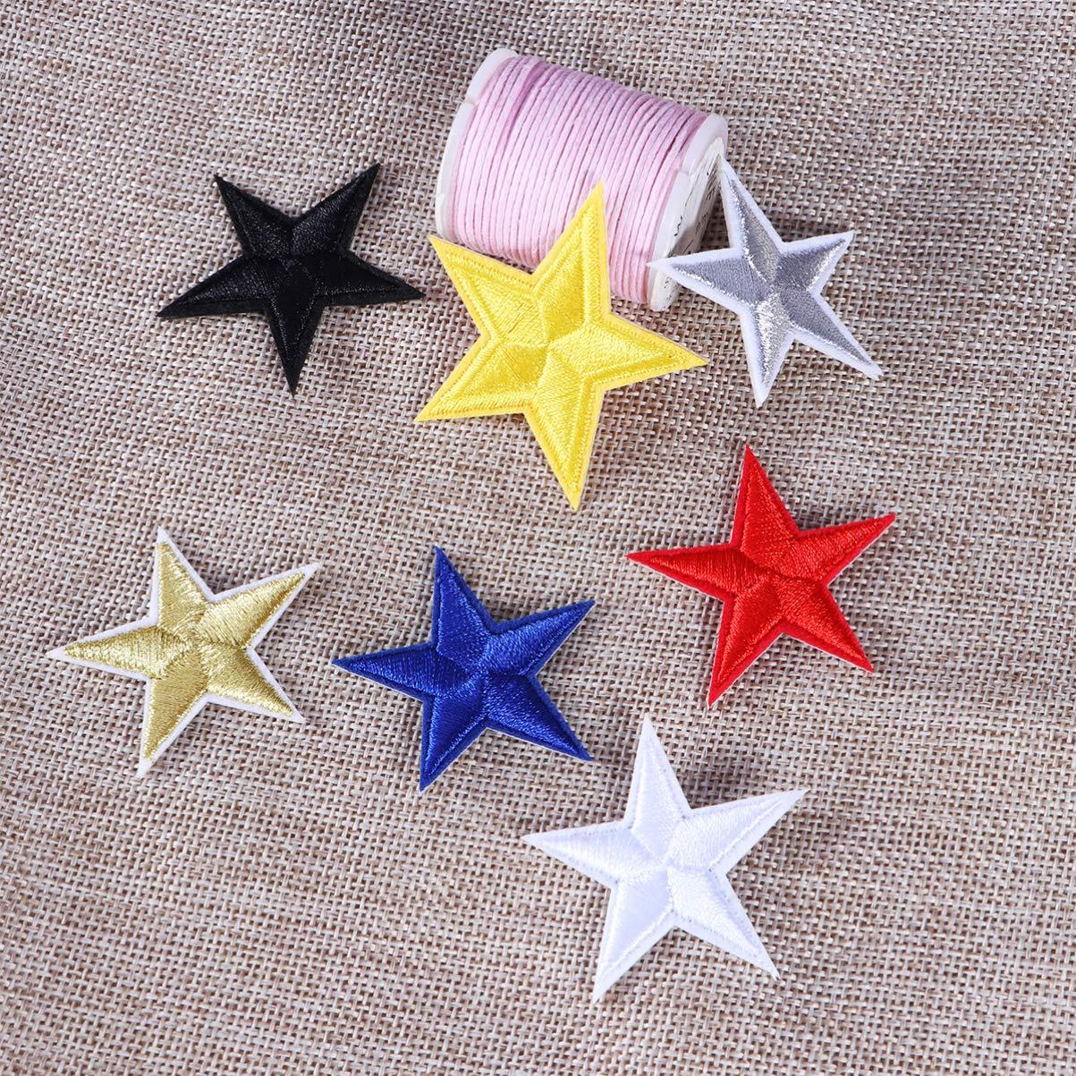 azul Dorado. HEALLILY para vaqueros ropa parches bordados para planchar costuras manualidades Parche de estrella para coser o planchar chaquetas