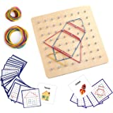Thoth Montessori Wooden Geoboard Mathematical Manipulative Material Array Block Geo board with 36Pcs Pattern Cards and Rubber