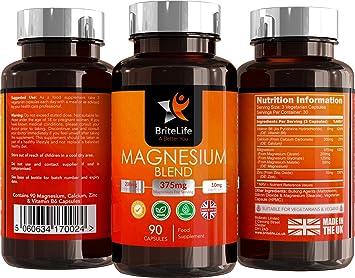 Fórmula de Magnesio - 375 mg   Complejo de Magnesio con Zinc, Vitamina B6 y Citrato de Magnesio   ALTA BIODISPONIBILIDAD   90 cápsulas vegetarianas - 1 mes ...
