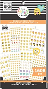 The Happy Planner Value Pack Sticker Sheets - Scrapbooking Supplies - Emoji & Social Talk Theme - Multicolor - Great for Journals, Scrapbooks & Albums - 1608 Stickers