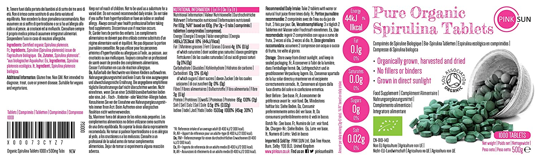 PINK SUN Espirulina Ecológica Comprimidos 1000 x 500mg (o 300 Tabletas) Orgánica Alga Pura Vegetariano Vegano sin Gluten No OGM Bio 100% Natural Organic ...