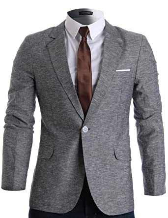 55eb08f067 FLATSEVEN Mens Slim Fit Linen Stylish Casual Blazer Jacket (BJ205) Grey, S