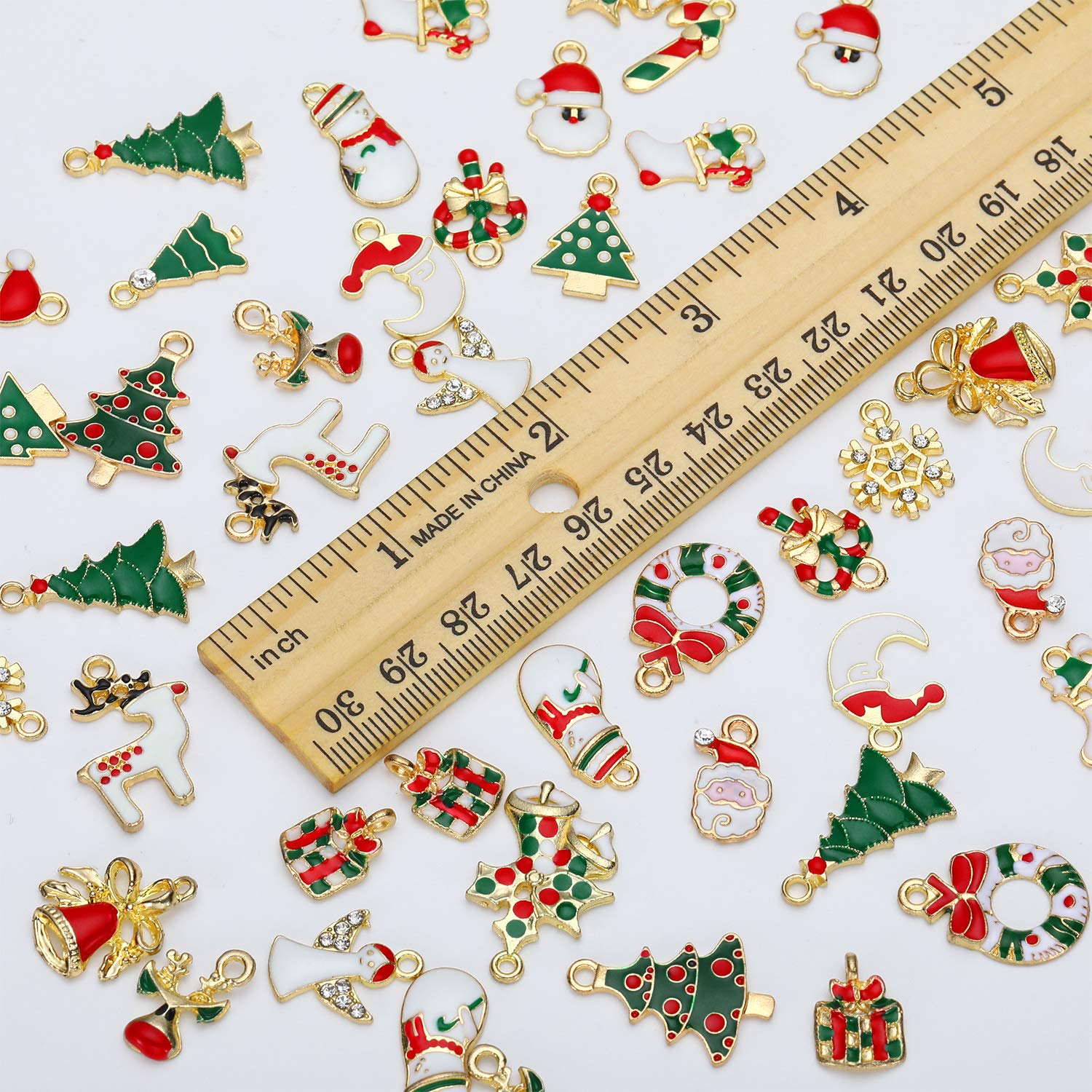 50 Pieces Christmas Pendant Charm Gold Plated Christmas Enamel Charm Pendant for DIY Jewelry Making Necklace Bracelet Earring Art Crafts