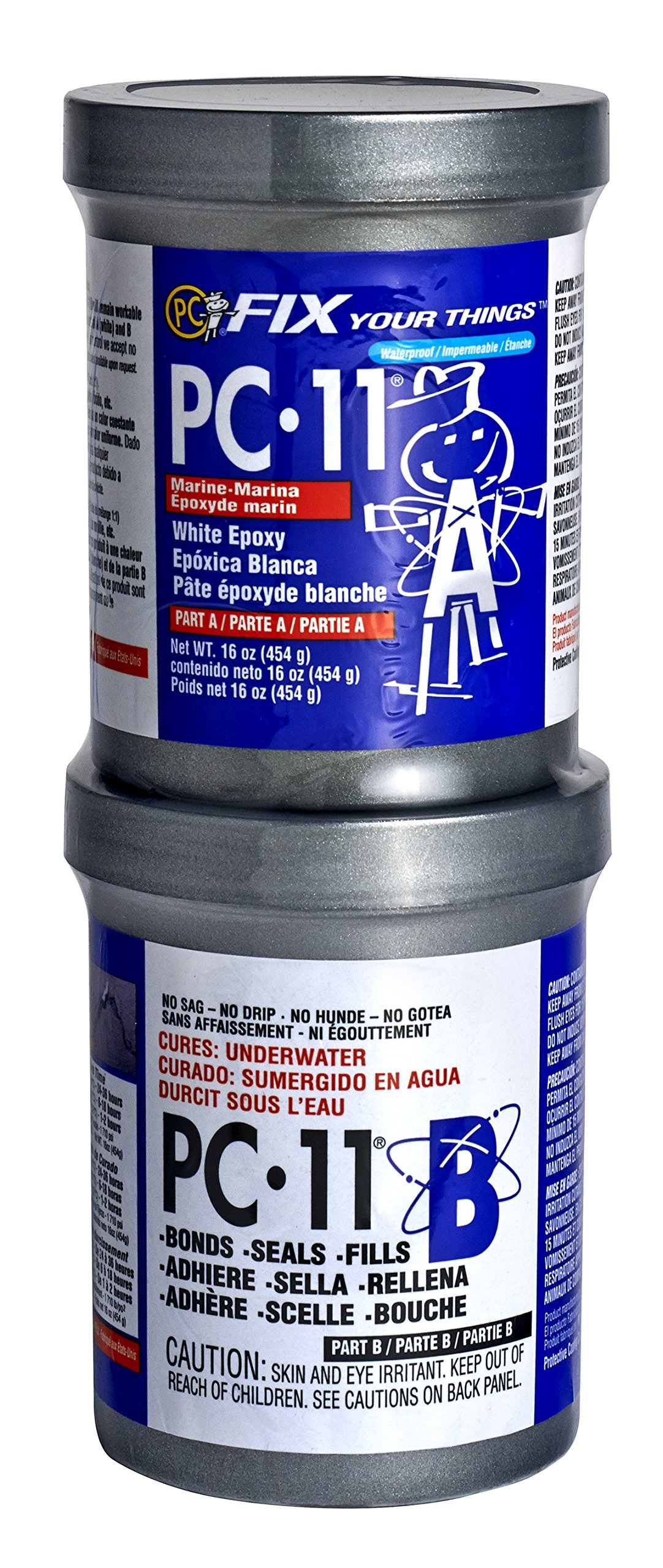 PC Products 160114 PC-11 Two-Part Marine Grade Epoxy Adhesive Paste, 1 lb in Two Cans, Off White