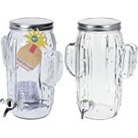 Shine BEVERAGE DISPENSER GLASS 4L BOTTLE WITH HANDLE, GLASS MASON JAR GREAT FOR HOME OUTDOOR PICNIC BAR AND BBQ PARTIES JUICE LEMONADE & PIMMS PUNCH