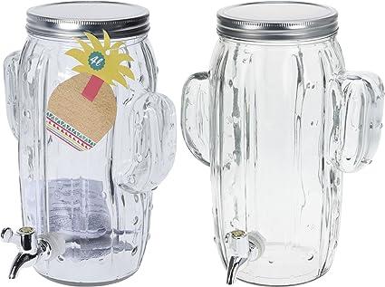 Shine DISPENSADOR DE Bebidas Vidrio Botella 4L con Mango, Vaso DE Masa DE Vidrio para