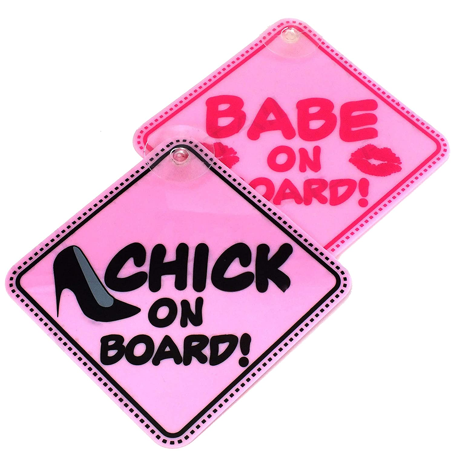 Babe /& Chick On Board Novelty Window Sign White Hinge 2 Pack Girls Pink Suction Car Signs