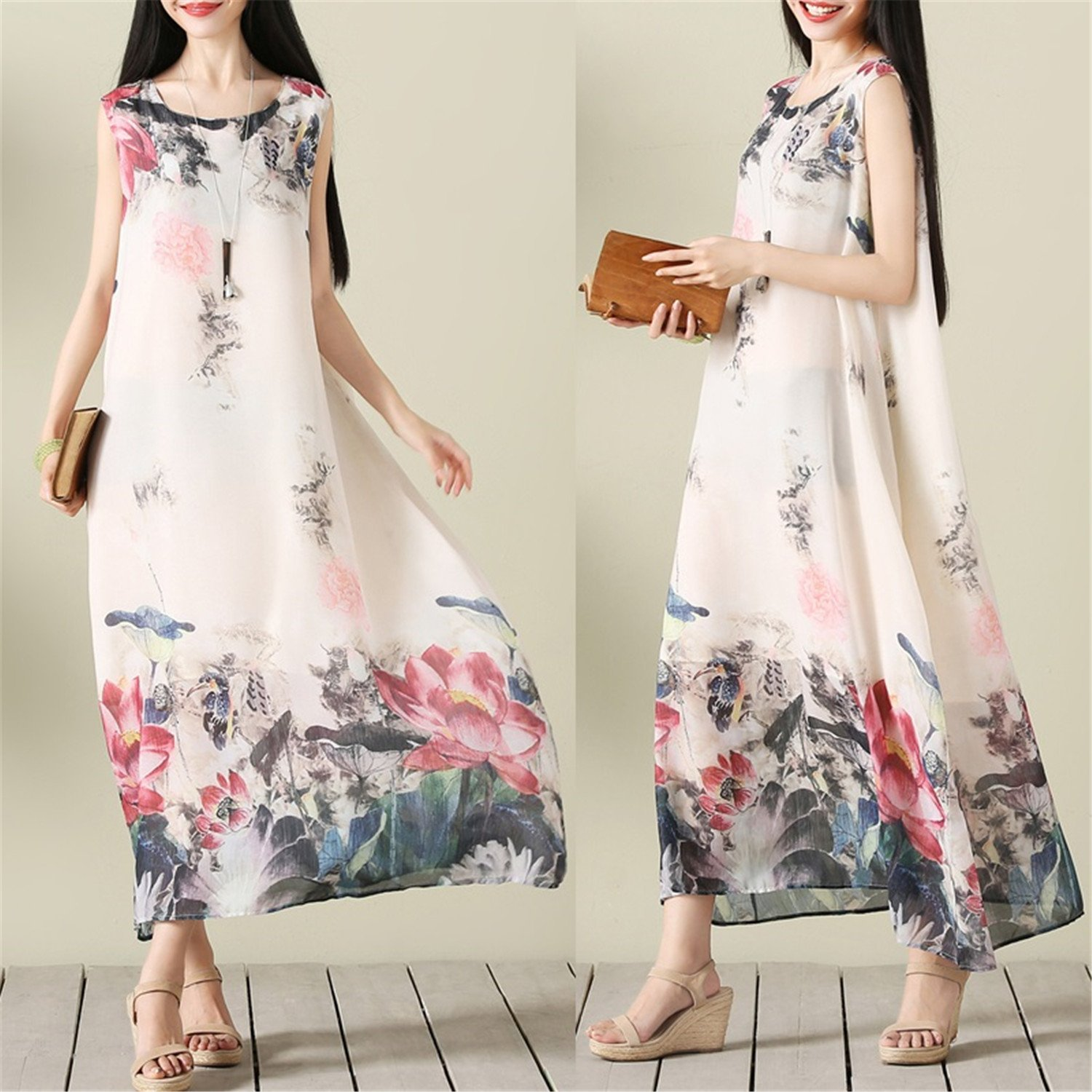 Chiffoned New Vintage Print Fashion Chiffon Loose Long Women Casual Dresses Summer Dress 2018 Dresses at Amazon Womens Clothing store: