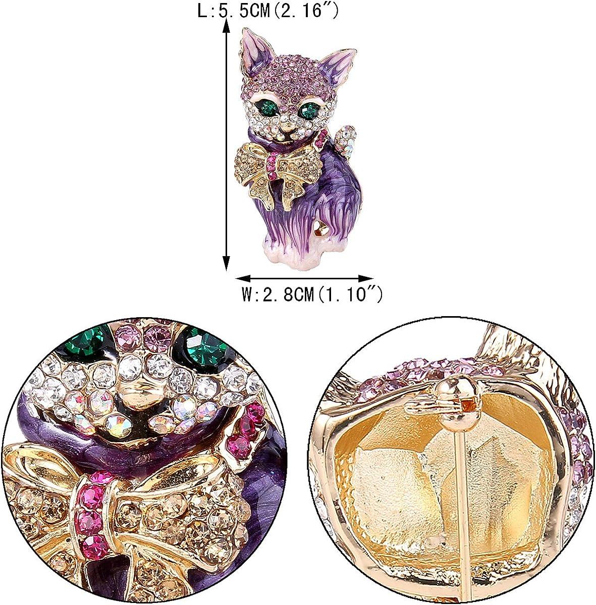 EVER FAITH/® /österreichisches Kristall Schmelz Modern Elegant Fliege Schleife Katze Brosche Modesschmuck Lila Gold-Ton N03051-6