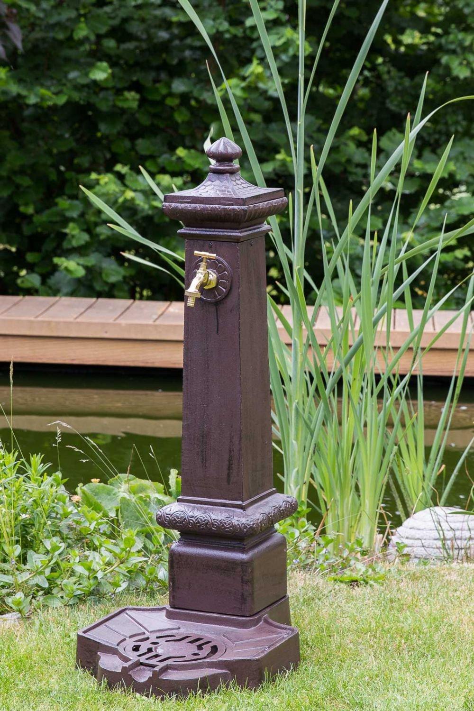 Standbrunnen 100cm Alu braun Brunnen Waschbecken Garten im antik Stil fountain