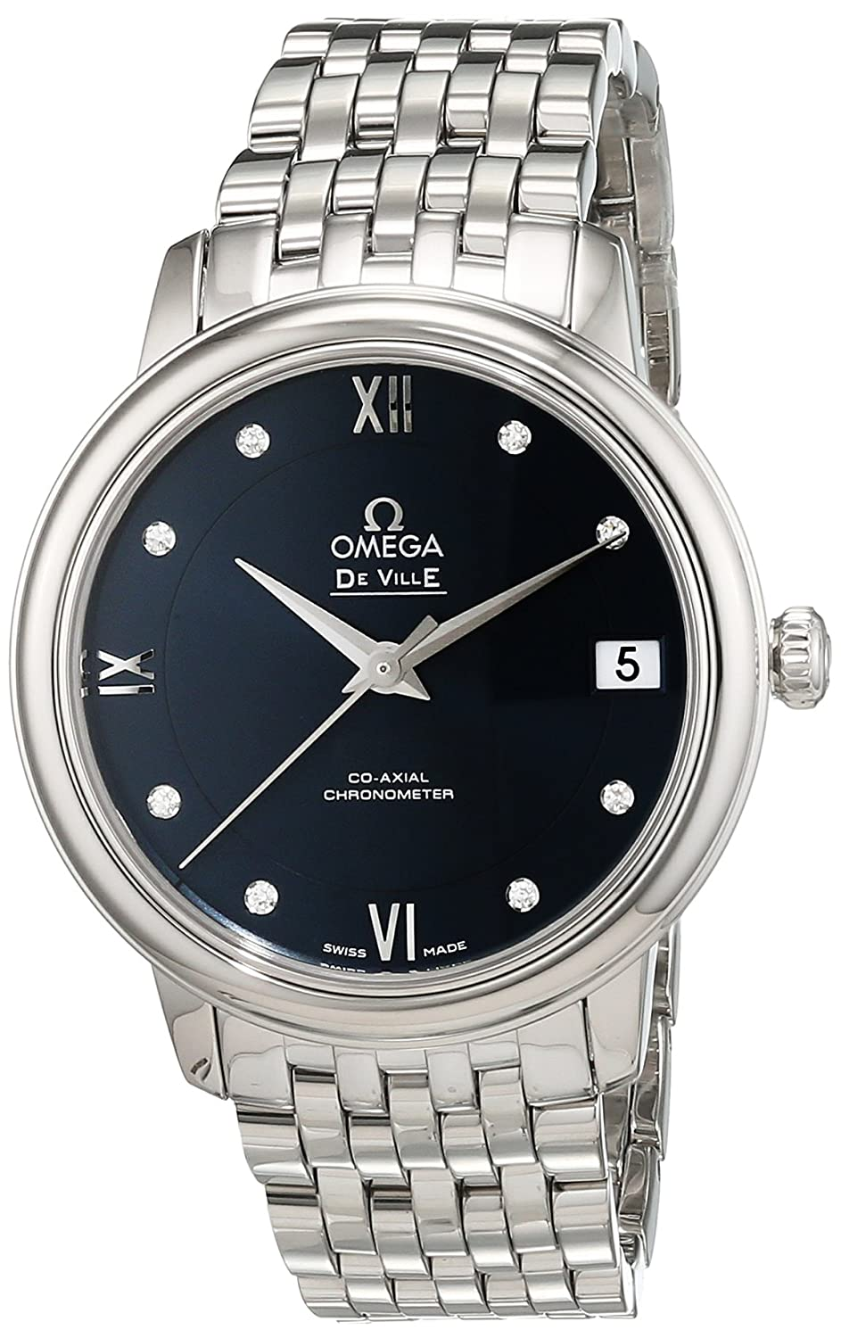 Amazon.com: Omega De Ville Prestige Automatic Blue Diamond Dial Stainless Steel Ladies Watch 424.10.33.20.53.001: Watches