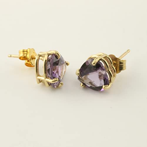 Amazon Com Amethyst Heart Pierced Post 14 Karat Gold Earrings