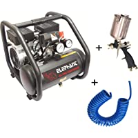 Elephant Oil free & Noiseless Air Compressor 6 Ltr. and Painter Popular Spray Gun PS 02 with PU Pipe & Fittings (AC 6L - PS 02)