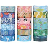 Molshine Set of 18 Decorative Japanese Washi Masking Adhesive Sticky Paper Tape Collection for Journals, Scrapbooks, Daily Planners, Phone DIY Decoration -(0.6inch x 7.6 Yard)