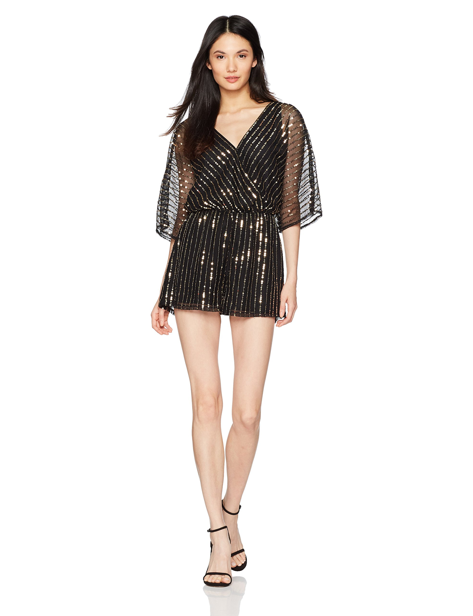 BB Dakota Women's Odelia Sequin Beaded Romper, Black, Medium