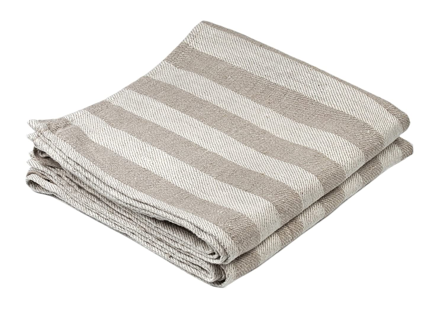 BLESS LINEN Jacquard Striped Pure Linen Hand Kitchen Towel, 16 x 30 Inches, Set of 2, Grey/White