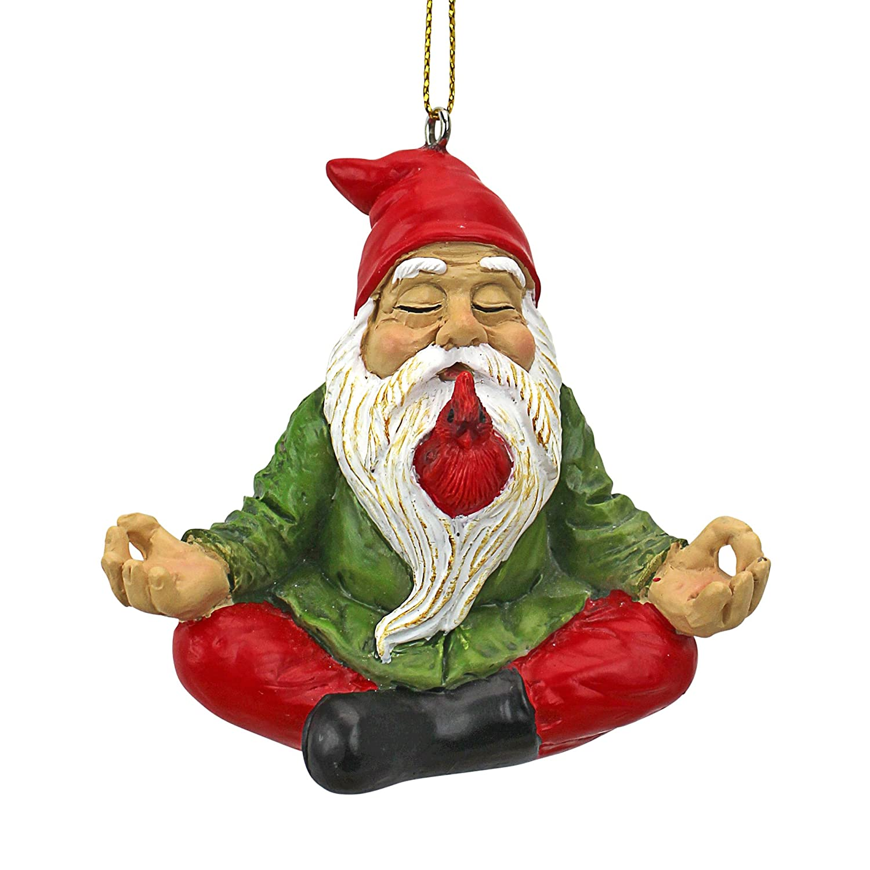 Design Toscano Christmas Ornament - Garden Gnomes Figurine - Zen Garden Gnomes - Meditating Gnome Statues QM17010