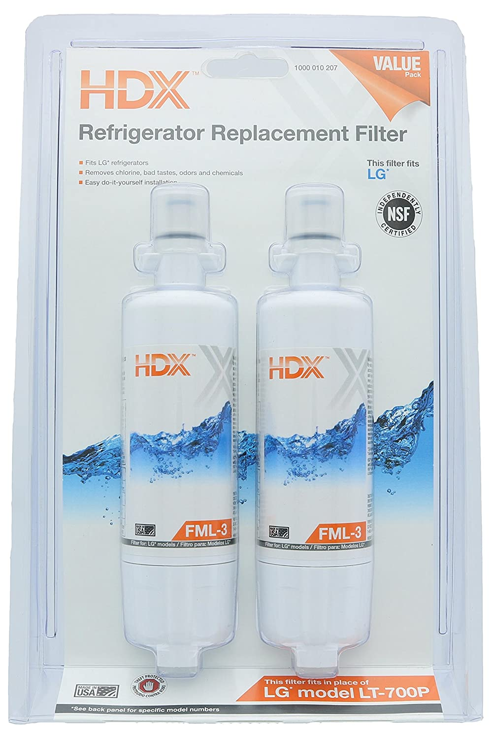 HDX FML-3 Replacement Water Filter / Purifier for LG Refrigerators (2 Pack)