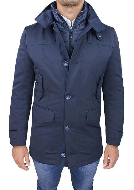 Giaccone giubbotto uomo sartoriale blu slim fit invernale giacca soprabito  elegante con gilet interno (S becbe408161