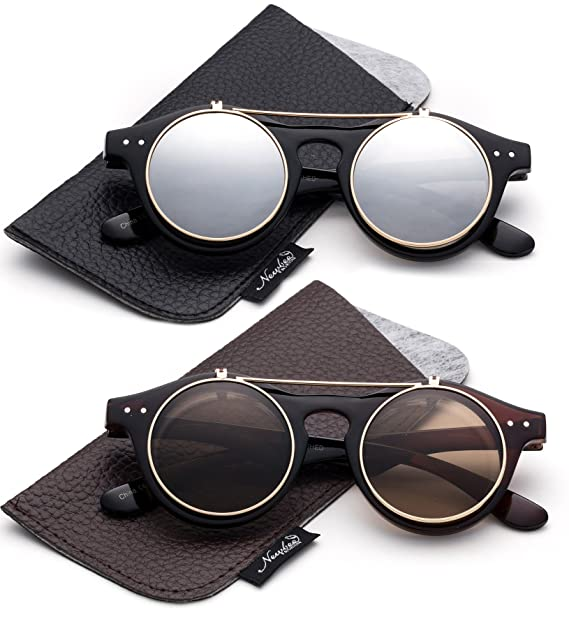 Classic Small Retro Steampunk Circle Flip Up Glasses/Sunglasses Cool Retro New Model