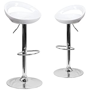 Flash Furniture 2 Pk. Contemporary White Plastic Adjustable Height Barstool with Rounded Cutout Back and Chrome Base