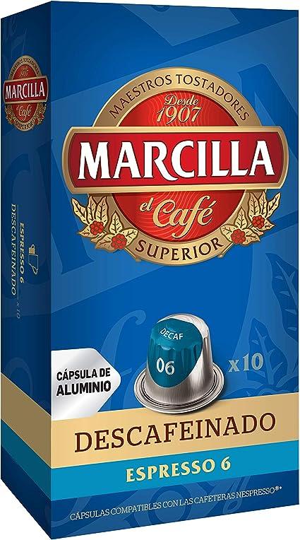 MARCILLA Café Espresso Descafeinado Intensidad 6 - 10 Cápsulas de ...