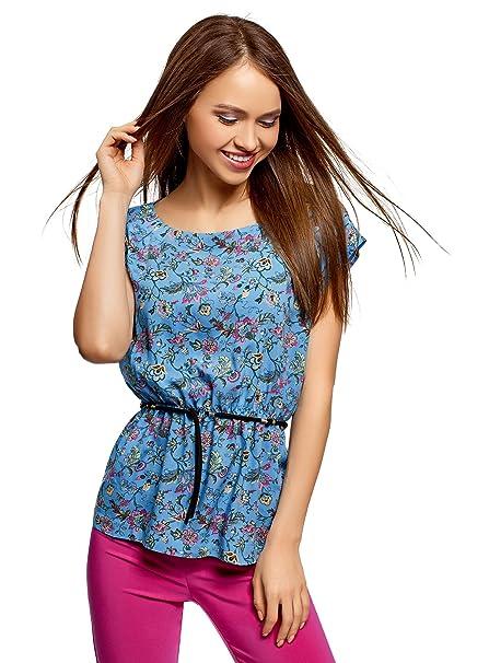 8aaac33d7 oodji Ultra Mujer Blusa Estampada de Viscosa  Amazon.es  Ropa y accesorios