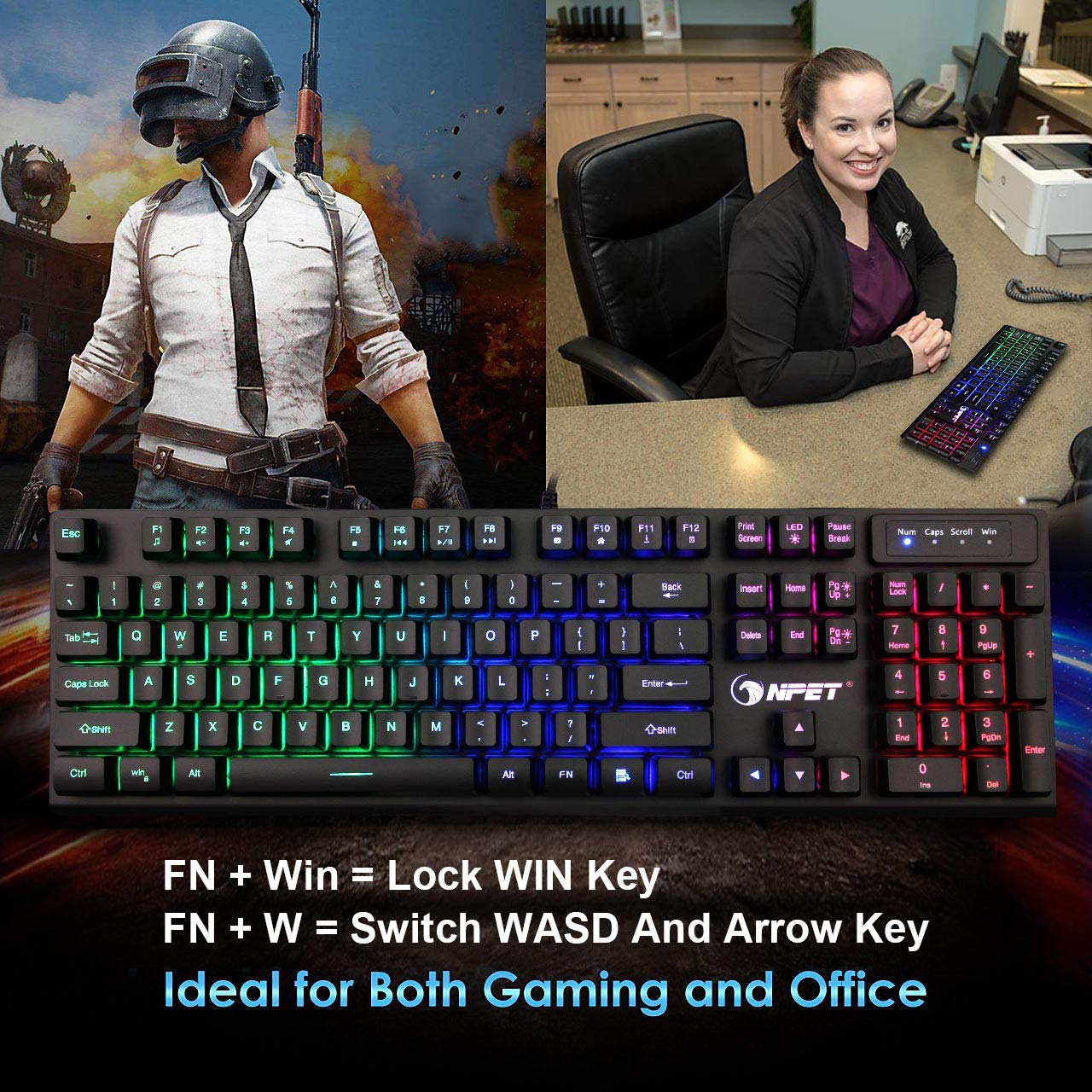 Mechanical Feeling Mini Gaming Keypad with Palm-Rest 33 Programmable Keys RGB Backlit USB Wired Keyboard for LOL//PUBG//Fortnite//Wow//Dota//OW NPET T10 One Handed Gaming Keyboard