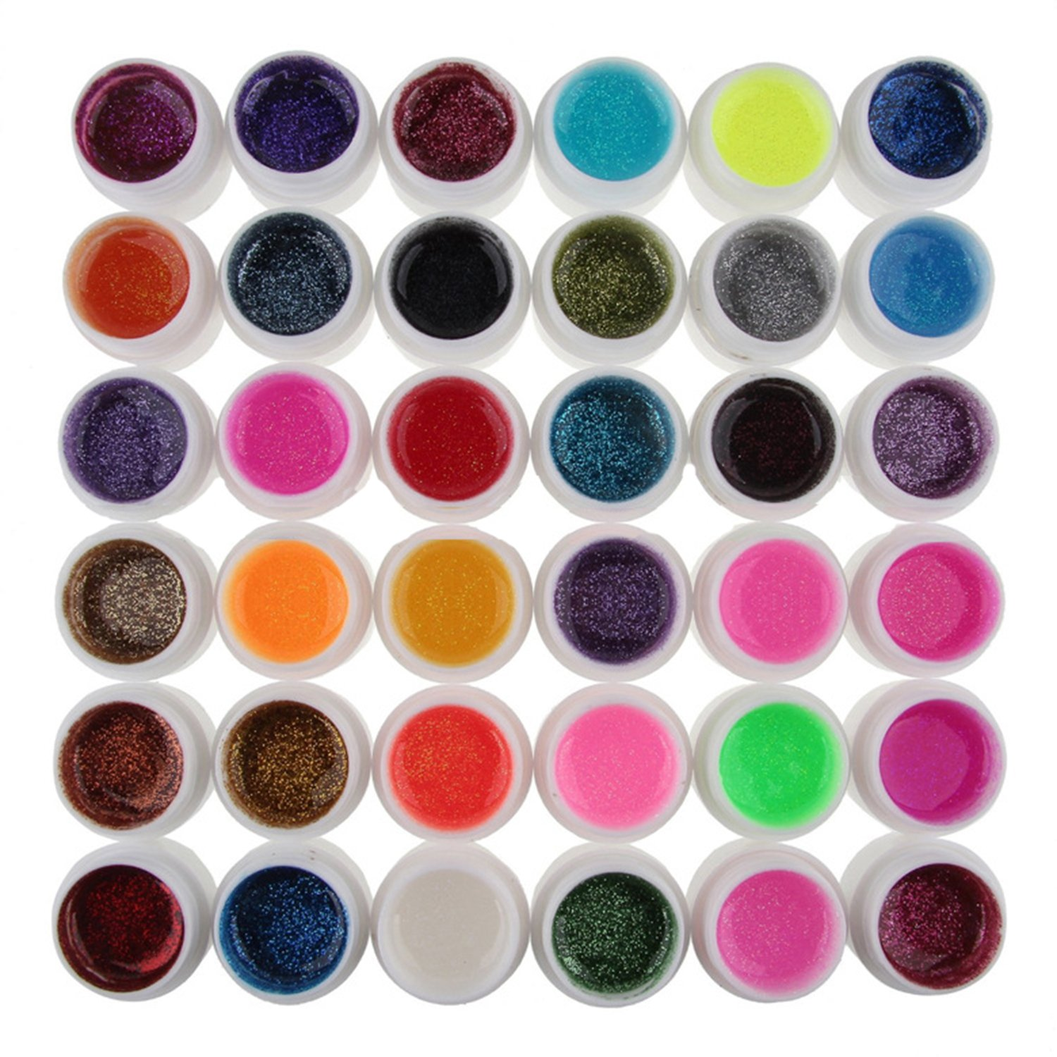 36 Colors UV Gel glitter Mix Color for Acrylic Nail Art Decoration DIY Set Accessories Elisona