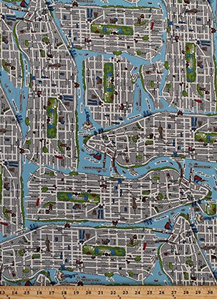 Map Of New York Harlem.Amazon Com Cotton New York City Map Nyc Streets Central Park East