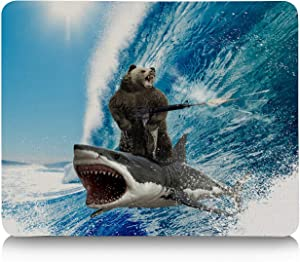 Mouse Pads for Computers Funny Shark Surfing Machine Gun Blue Waves Ocean Art Nonslip Rest Mousepad for Office,Gaming,Computer, Laptop & Mac at Home Or Work